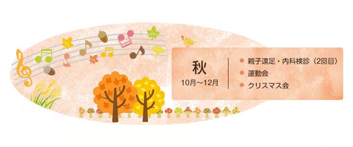 秋10月~12月 親子遠足・内科検診(2回目) 運動会 クリスマス会