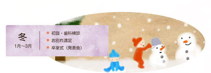 冬1月~3月 初詣・歯科検診 お別れ遠足 卒室式(発表会)